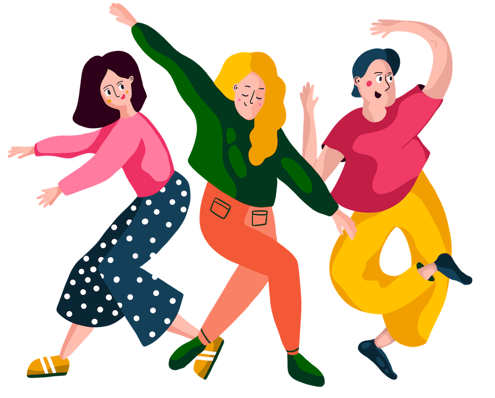 Illustration of people cheering and dancing