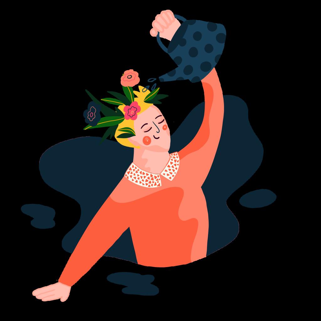 Teckning av en person med blommor i håret som vattnar blommorna