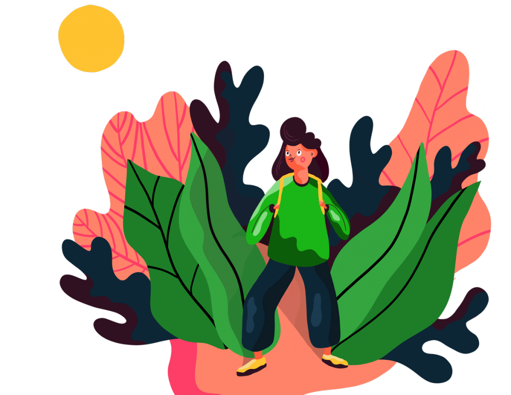 En teckning av en glad kvinna som går bland lövverk, hon har en ryggsäck och kommer gående framåt
