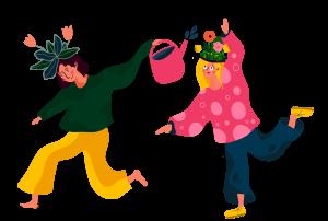teckning av två personer som har blommor som hår, de springer framåt och den ena vattnar den andres blommor