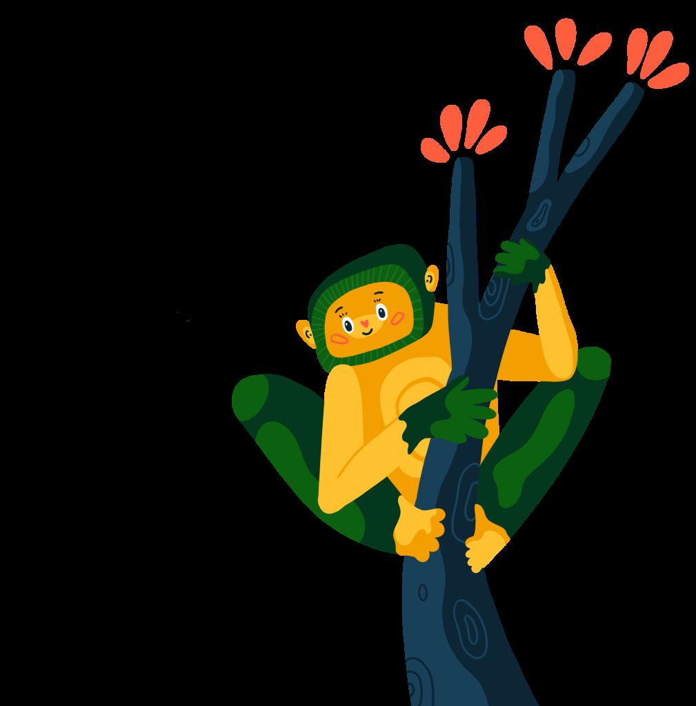en teckning av en glad sengångare som sitter i ett träd