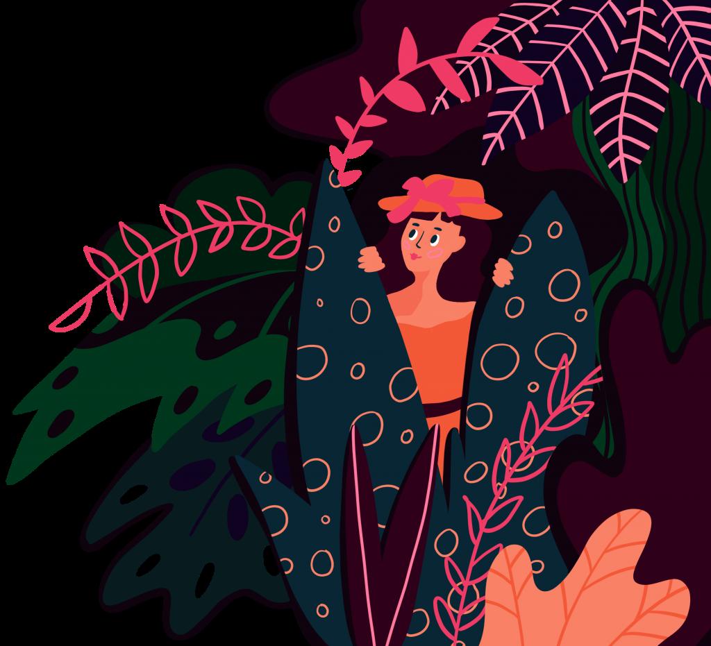 en teckning av en kvinna som tittar fram mellan löv i en djungel